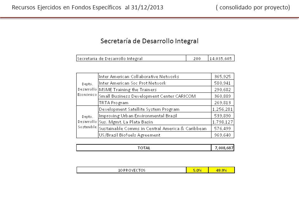 Recursos Ejercidos en Fondos Específicos al 31/12/2013 ( consolidado por proyecto) Secretaría de Desarrollo Integral