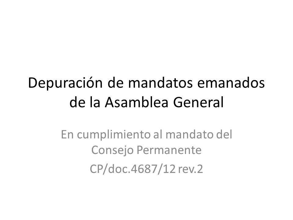 Depuración de mandatos emanados de la Asamblea General En cumplimiento al mandato del Consejo Permanente CP/doc.4687/12 rev.2