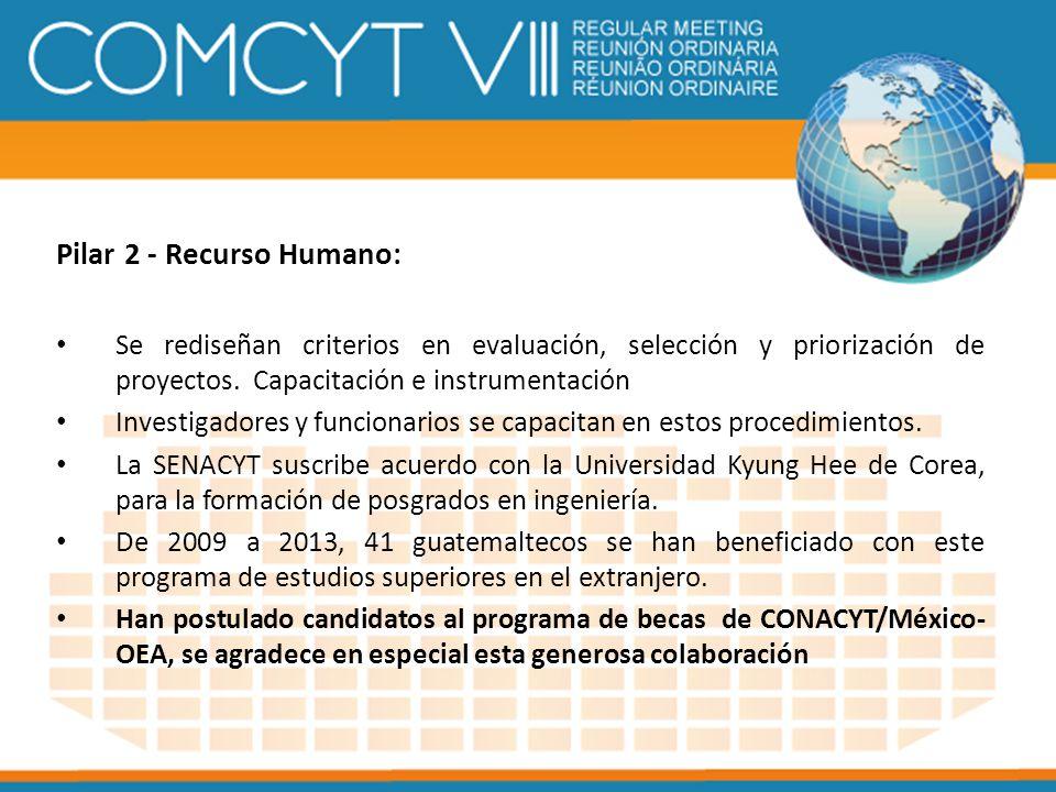 Pilar 2 - Recurso Humano: Se rediseñan criterios en evaluación, selección y priorización de proyectos. Capacitación e instrumentación Investigadores y
