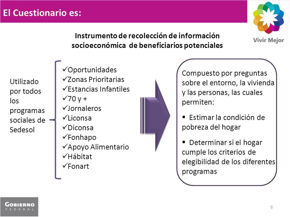 El Cuestionario es: 6 Instrumento de recolección de información socioeconómica de beneficiarios potenciales Utilizado por todos los programas sociales