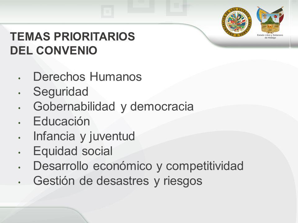 Derechos Humanos Seguridad Gobernabilidad y democracia Educación Infancia y juventud Equidad social Desarrollo económico y competitividad Gestión de desastres y riesgos TEMAS PRIORITARIOS DEL CONVENIO