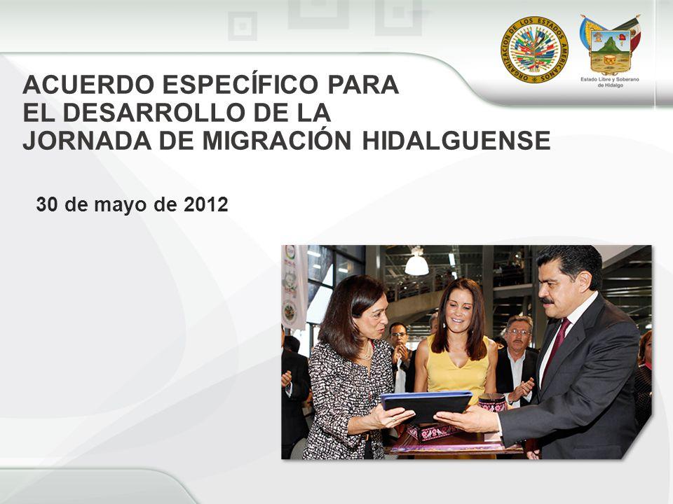 ACUERDO ESPECÍFICO PARA EL DESARROLLO DE LA JORNADA DE MIGRACIÓN HIDALGUENSE 30 de mayo de 2012
