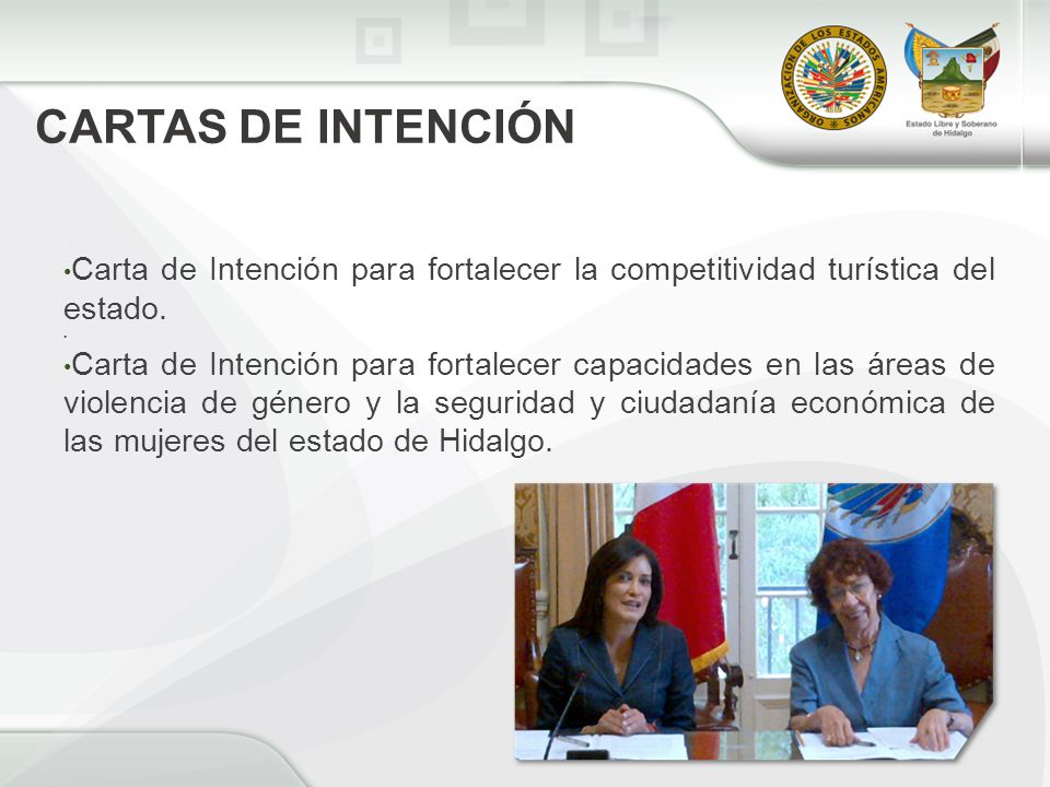 CARTAS DE INTENCIÓN. Carta de Intención para fortalecer la competitividad turística del estado..