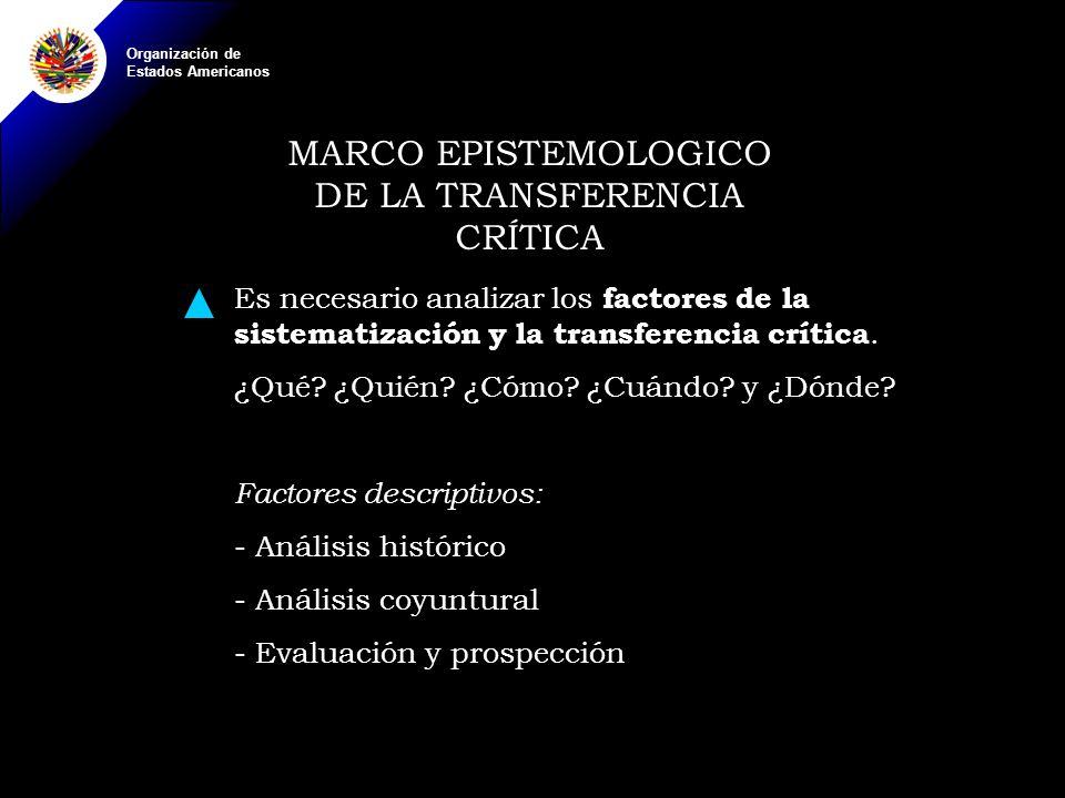 Organización de Estados Americanos MARCO EPISTEMOLOGICO DE LA TRANSFERENCIA CRÍTICA Es necesario analizar los factores de la sistematización y la transferencia crítica.