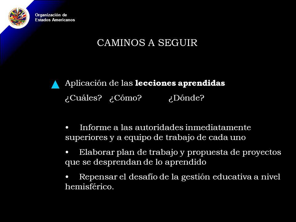 Organización de Estados Americanos CAMINOS A SEGUIR Aplicación de las lecciones aprendidas ¿Cuáles?¿Cómo?¿Dónde.