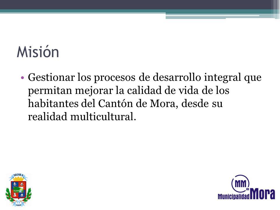 Misión Gestionar los procesos de desarrollo integral que permitan mejorar la calidad de vida de los habitantes del Cantón de Mora, desde su realidad m
