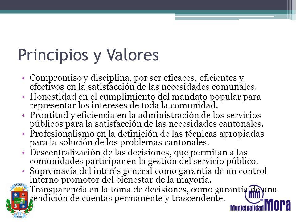 Principios y Valores Compromiso y disciplina, por ser eficaces, eficientes y efectivos en la satisfacción de las necesidades comunales. Honestidad en