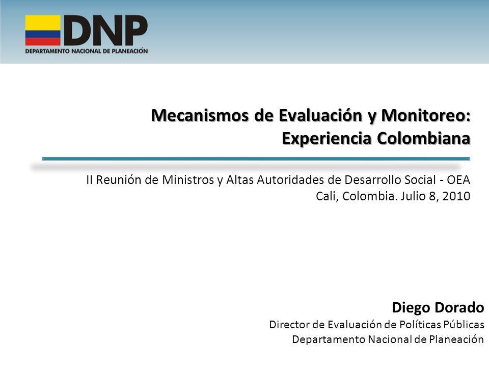 Contexto La Constitución colombiana de 1991 introduce la obligatoriedad de monitorear y evaluar las políticas públicas.