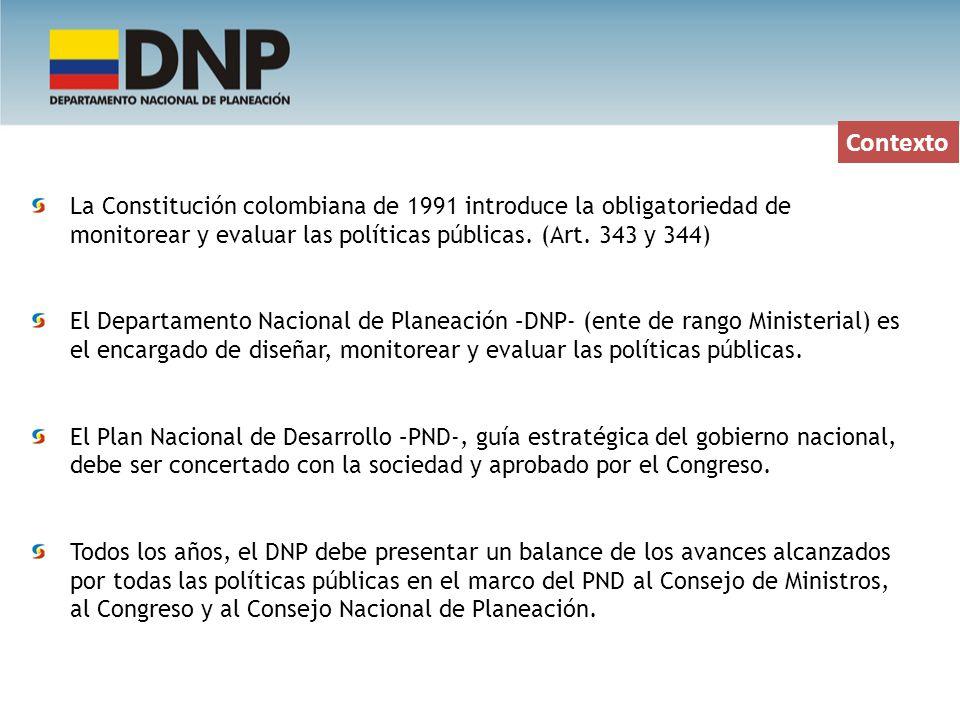 Contexto La Constitución colombiana de 1991 introduce la obligatoriedad de monitorear y evaluar las políticas públicas. (Art. 343 y 344) El Departamen
