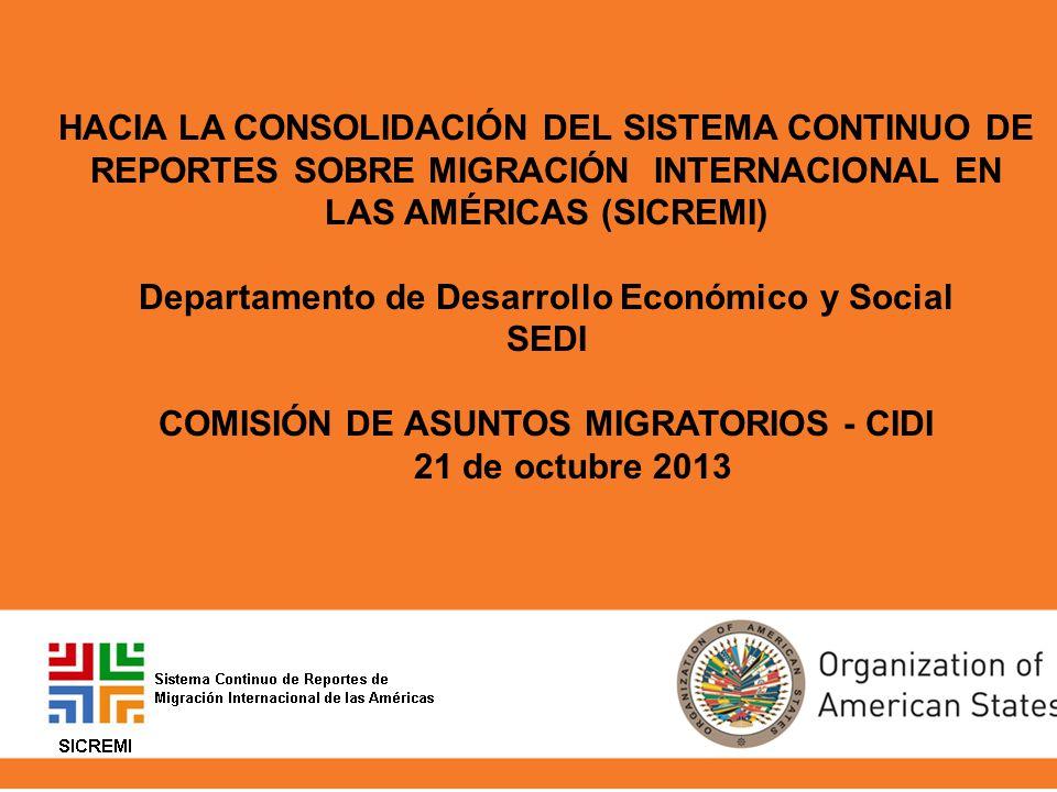 HACIA LA CONSOLIDACIÓN DEL SISTEMA CONTINUO DE REPORTES SOBRE MIGRACIÓN INTERNACIONAL EN LAS AMÉRICAS (SICREMI) Departamento de Desarrollo Económico y Social SEDI COMISIÓN DE ASUNTOS MIGRATORIOS - CIDI 21 de octubre 2013