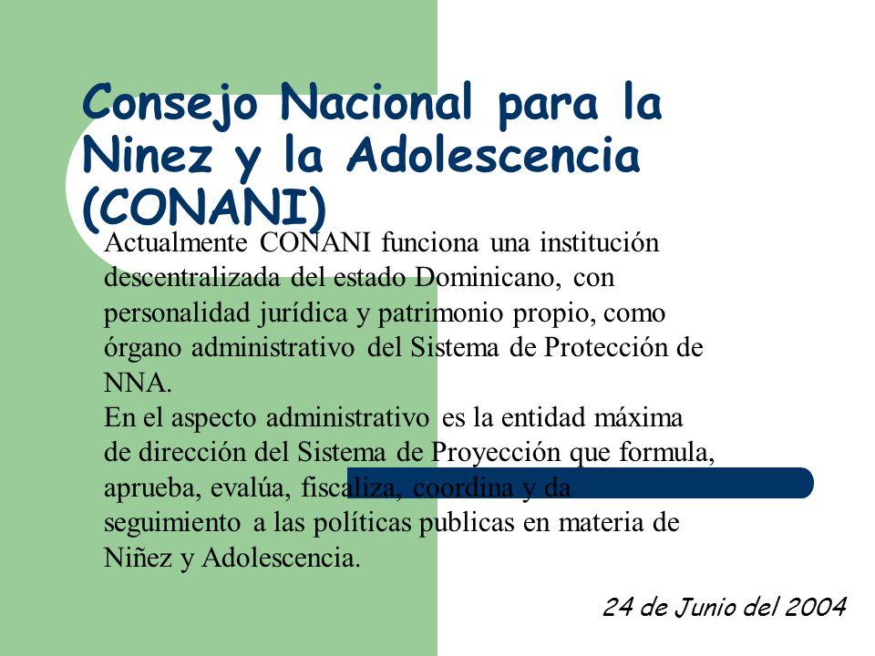 Consejo Nacional para la Ninez y la Adolescencia (CONANI) Centro C0 24 de Junio del 2004 Actualmente CONANI funciona una institución descentralizada del estado Dominicano, con personalidad jurídica y patrimonio propio, como órgano administrativo del Sistema de Protección de NNA.