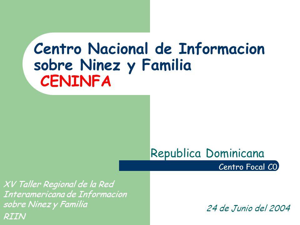 Centro Nacional de Informacion sobre Ninez y Familia CENINFA Republica Dominicana Centro Focal C0 24 de Junio del 2004 XV Taller Regional de la Red Interamericana de Informacion sobre Ninez y Familia RIIN