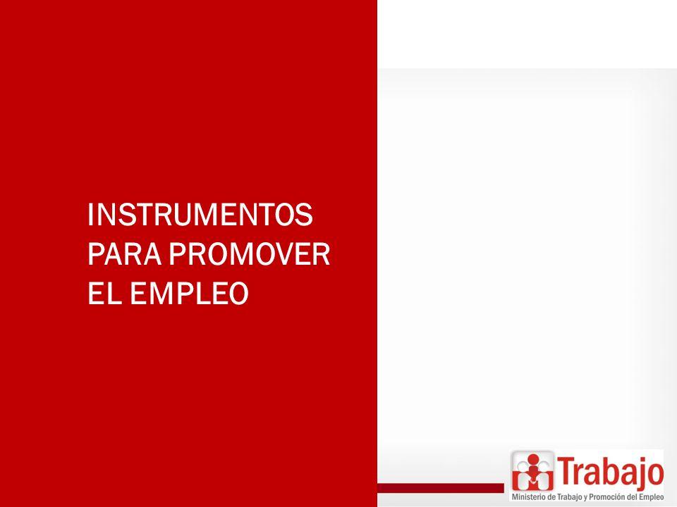 (DS N° 001-2012-TR) Bolsa de Trabajo Asesoría para la Búsqueda de Empleo Certificado Único Laboral Empleo Temporal PARA BUSCADORES DE EMPLEO Capacitación Laboral Certificación de Competencias Laborales PARA MEJORAR LA EMPLEABILIDAD Orientación para el Emprendimiento Capacitación para el Emprendimiento PARA EMPRENDEDORES Acercamiento Empresarial PARA EMPRESAS Orientación Vocacional e Información Ocupacional PARA ESCOLARES Y JÓVENES Orientación al Migrante PARA MIGRANTES PARA PÚBLICO EN GENERAL Información del Mercado de Trabajo VENTANILLA ÚNICA DE PROMOCIÓN DEL EMPLEO INSTRUMENTOS TRANSVERSALES
