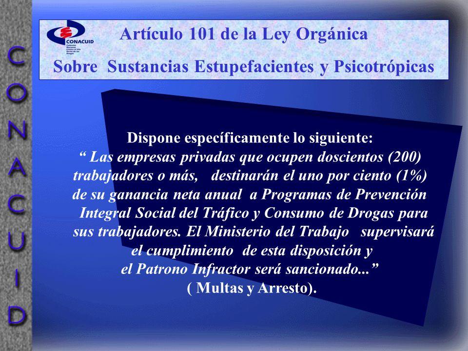 Artículo 101 de la Ley Orgánica Sobre Sustancias Estupefacientes y Psicotrópicas Dispone específicamente lo siguiente: Las empresas privadas que ocupe