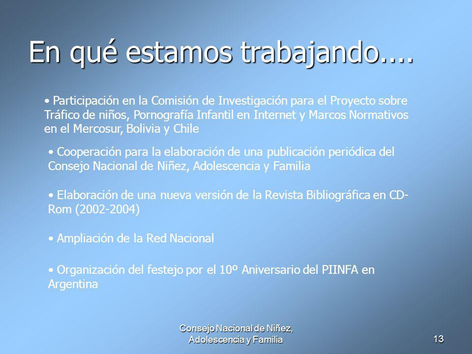 Consejo Nacional de Niñez, Adolescencia y Familia13 En qué estamos trabajando....