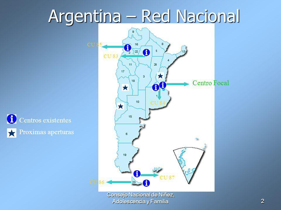 Consejo Nacional de Niñez, Adolescencia y Familia2 Argentina – Red Nacional Centro Focal CU 84 CU 87 CU 86 CU 83 CU 85 Centros existentes Proximas aperturas