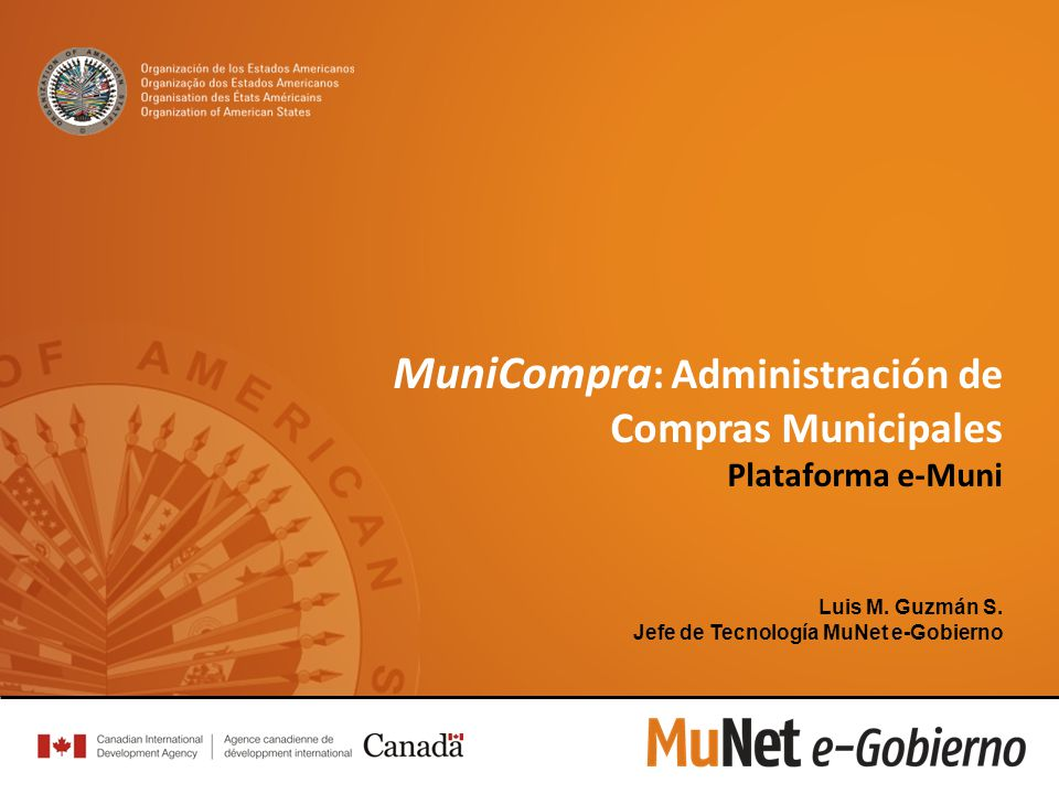MuniCompra : Administración de Compras Municipales Plataforma e-Muni Luis M.