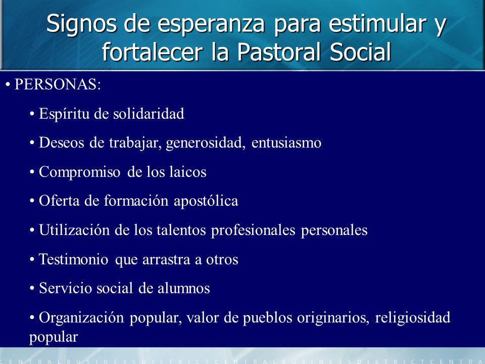 Signos de esperanza para estimular y fortalecer la Pastoral Social PERSONAS: Espíritu de solidaridad Deseos de trabajar, generosidad, entusiasmo Compr