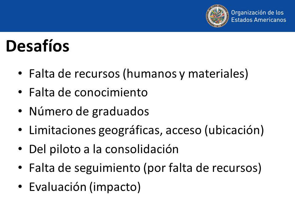 Desafíos Falta de recursos (humanos y materiales) Falta de conocimiento Número de graduados Limitaciones geográficas, acceso (ubicación) Del piloto a la consolidación Falta de seguimiento (por falta de recursos) Evaluación (impacto)