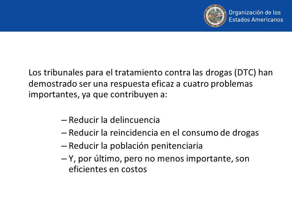 Los tribunales para el tratamiento contra las drogas (DTC) han demostrado ser una respuesta eficaz a cuatro problemas importantes, ya que contribuyen a: – Reducir la delincuencia – Reducir la reincidencia en el consumo de drogas – Reducir la población penitenciaria – Y, por último, pero no menos importante, son eficientes en costos