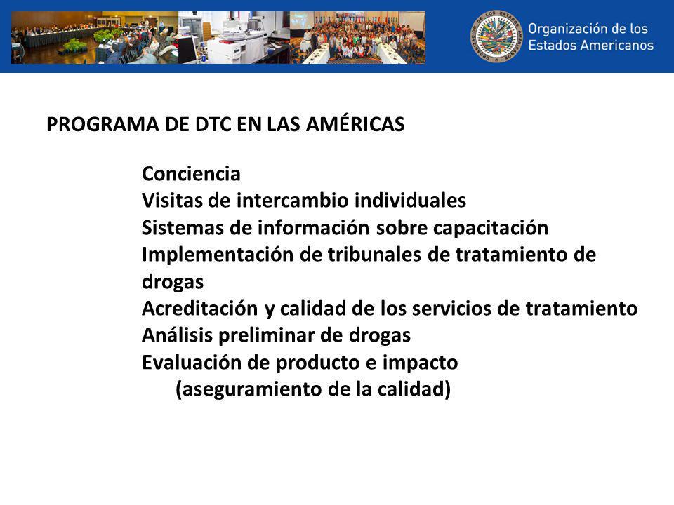 Conciencia Visitas de intercambio individuales Sistemas de información sobre capacitación Implementación de tribunales de tratamiento de drogas Acreditación y calidad de los servicios de tratamiento Análisis preliminar de drogas Evaluación de producto e impacto (aseguramiento de la calidad) PROGRAMA DE DTC EN LAS AMÉRICAS