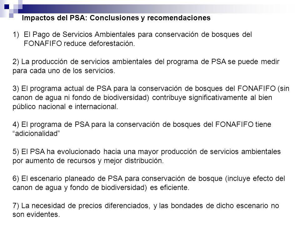 2005 Cobertura Forestal 51% Impactos de políticas de ASP y PSA