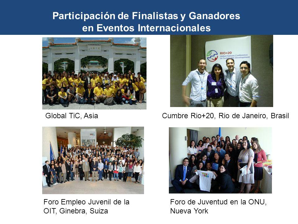 Foro Empleo Juvenil de la OIT, Ginebra, Suiza Foro de Juventud en la ONU, Nueva York Global TiC, AsiaCumbre Rio+20, Rio de Janeiro, Brasil Participaci