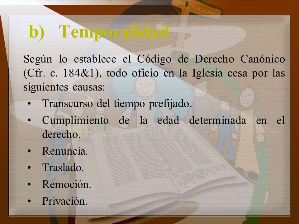 b)Temporalidad Según lo establece el Código de Derecho Canónico (Cfr. c. 184&1), todo oficio en la Iglesia cesa por las siguientes causas: Transcurso