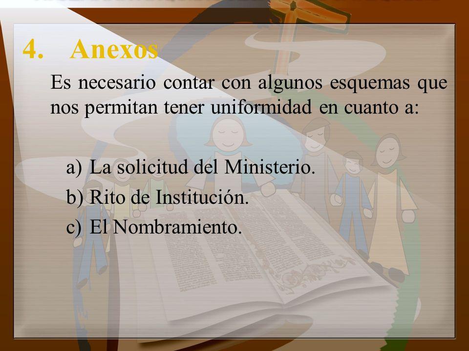 4.Anexos Es necesario contar con algunos esquemas que nos permitan tener uniformidad en cuanto a: a)La solicitud del Ministerio. b)Rito de Institución