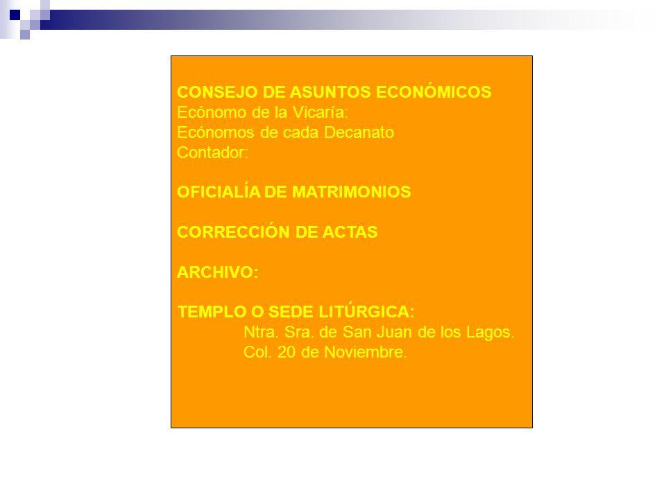 CONSEJO DE ASUNTOS ECONÓMICOS Ecónomo de la Vicaría: Ecónomos de cada Decanato Contador: OFICIALÍA DE MATRIMONIOS CORRECCIÓN DE ACTAS ARCHIVO: TEMPLO