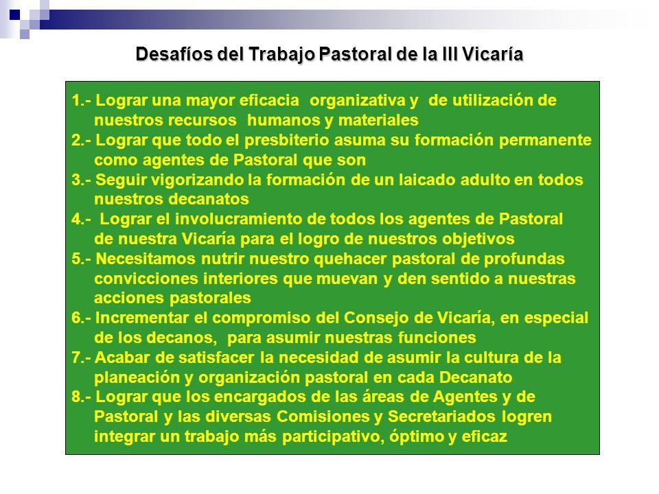 Desafíos del Trabajo Pastoral de la III Vicaría 1.- Lograr una mayor eficacia organizativa y de utilización de nuestros recursos humanos y materiales