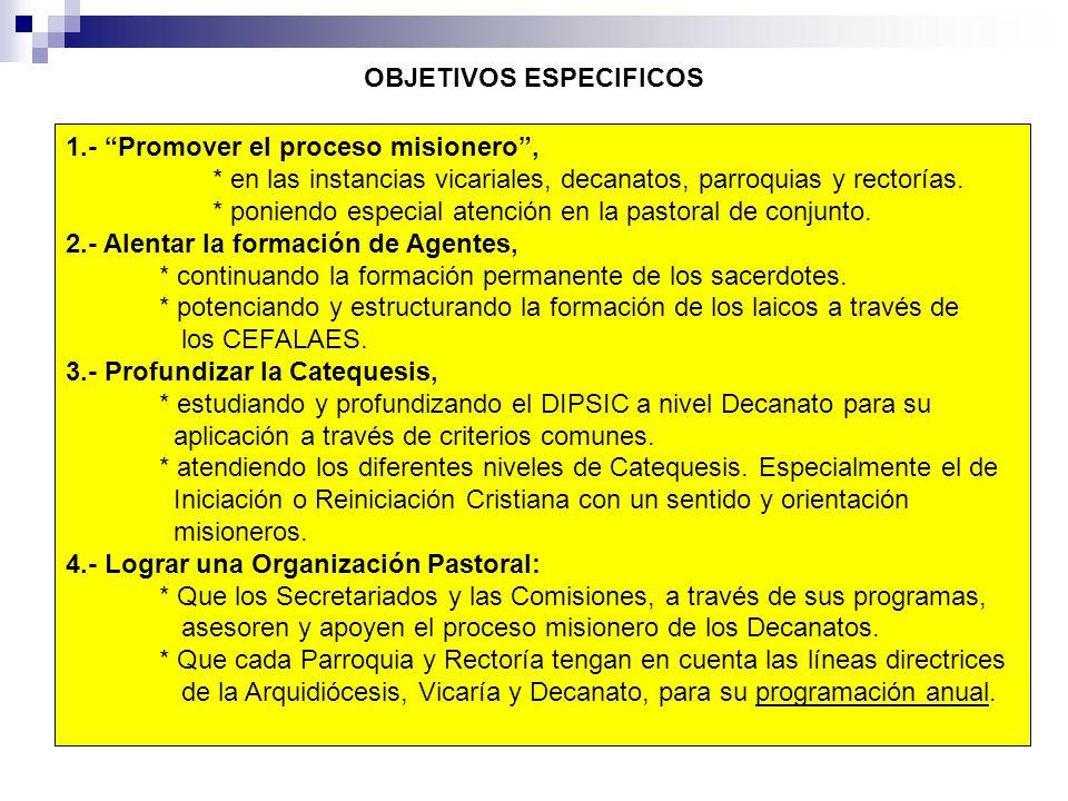 OBJETIVOS ESPECIFICOS 1.- Promover el proceso misionero, * en las instancias vicariales, decanatos, parroquias y rectorías. * poniendo especial atenci