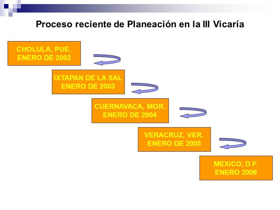 Proceso reciente de Planeación en la III Vicaría CHOLULA, PUE. ENERO DE 2002 IXTAPAN DE LA SAL ENERO DE 2003 CUERNAVACA, MOR. ENERO DE 2004 VERACRUZ,