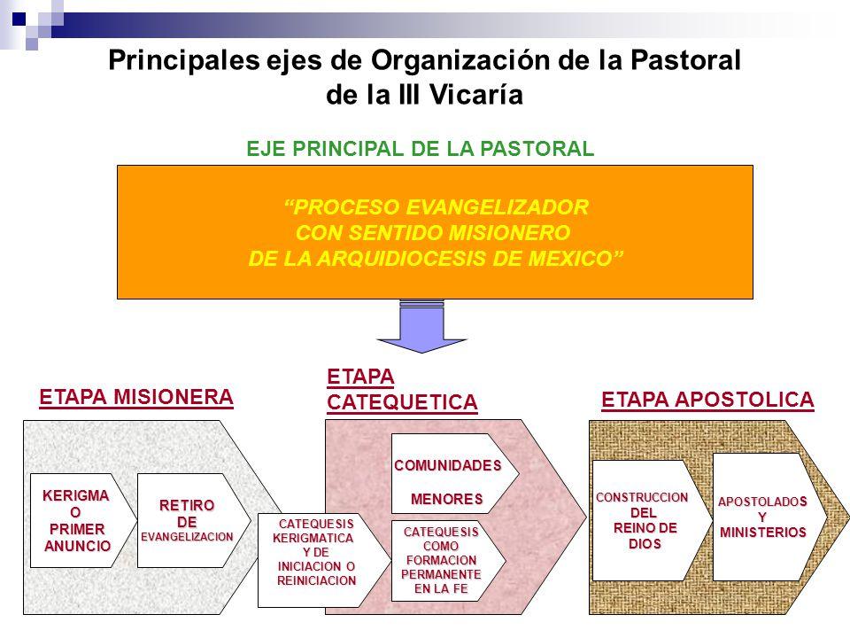 Principales ejes de Organización de la Pastoral de la III Vicaría PROCESO EVANGELIZADOR CON SENTIDO MISIONERO DE LA ARQUIDIOCESIS DE MEXICO EJE PRINCI