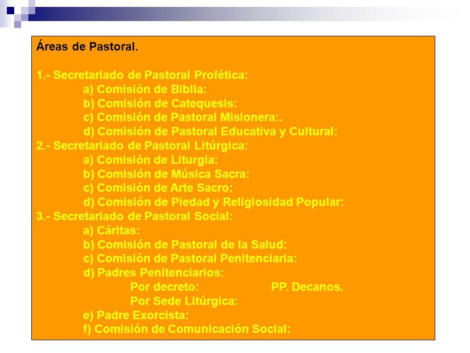 Áreas de Pastoral. 1.- Secretariado de Pastoral Profética: a) Comisión de Biblia: b) Comisión de Catequesis: c) Comisión de Pastoral Misionera:. d) Co