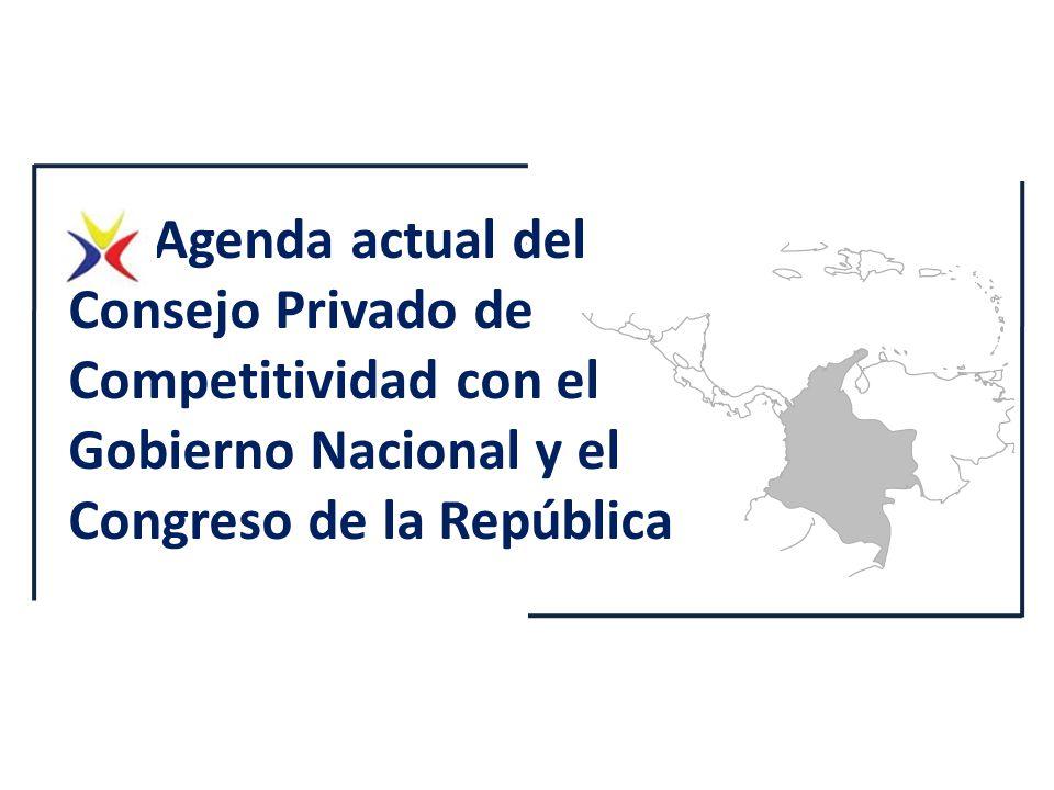 1. Agenda actual del Consejo Privado de Competitividad con el Gobierno Nacional y el Congreso de la República