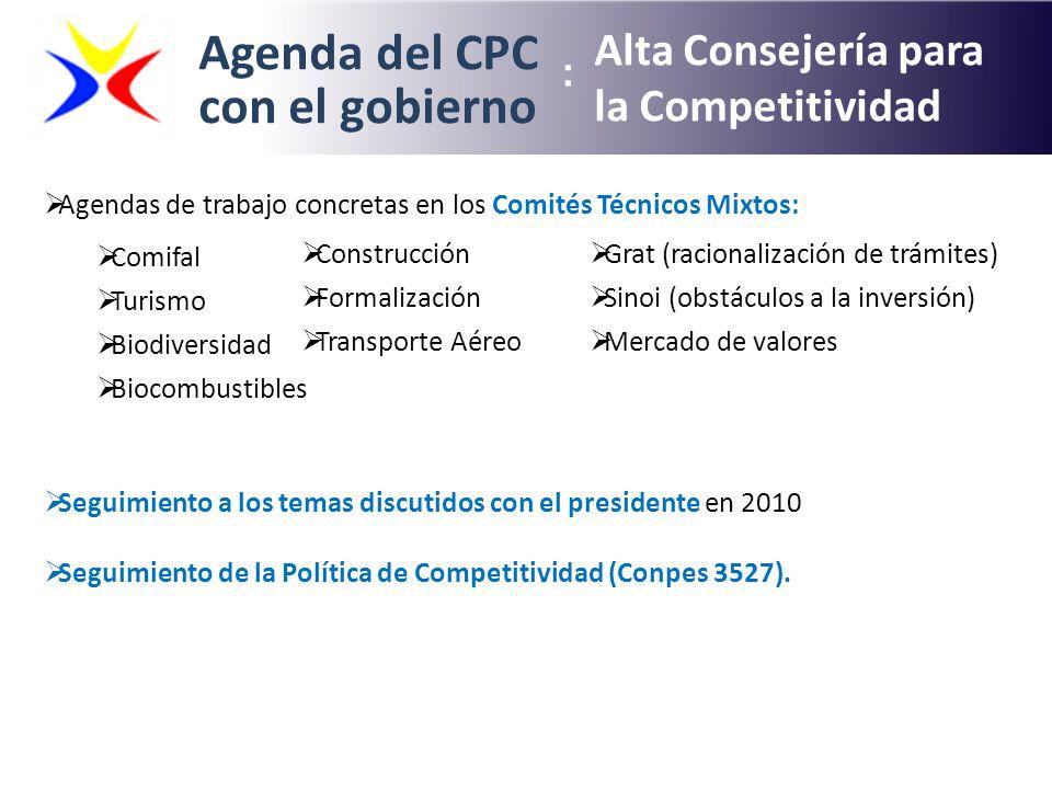 Agenda del CPC con el gobierno Alta Consejería para la Competitividad : Agendas de trabajo concretas en los Comités Técnicos Mixtos: Comifal Turismo B