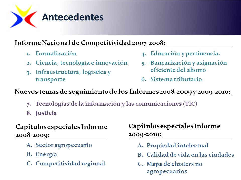 1.Formalización 2.Ciencia, tecnología e innovación 3.Infraestructura, logística y transporte Informe Nacional de Competitividad 2007-2008: Nuevos tema