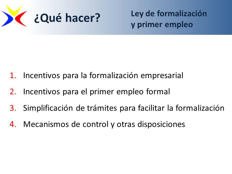 Ley de formalización y primer empleo 1.Incentivos para la formalización empresarial 2.Incentivos para el primer empleo formal 3.Simplificación de trám