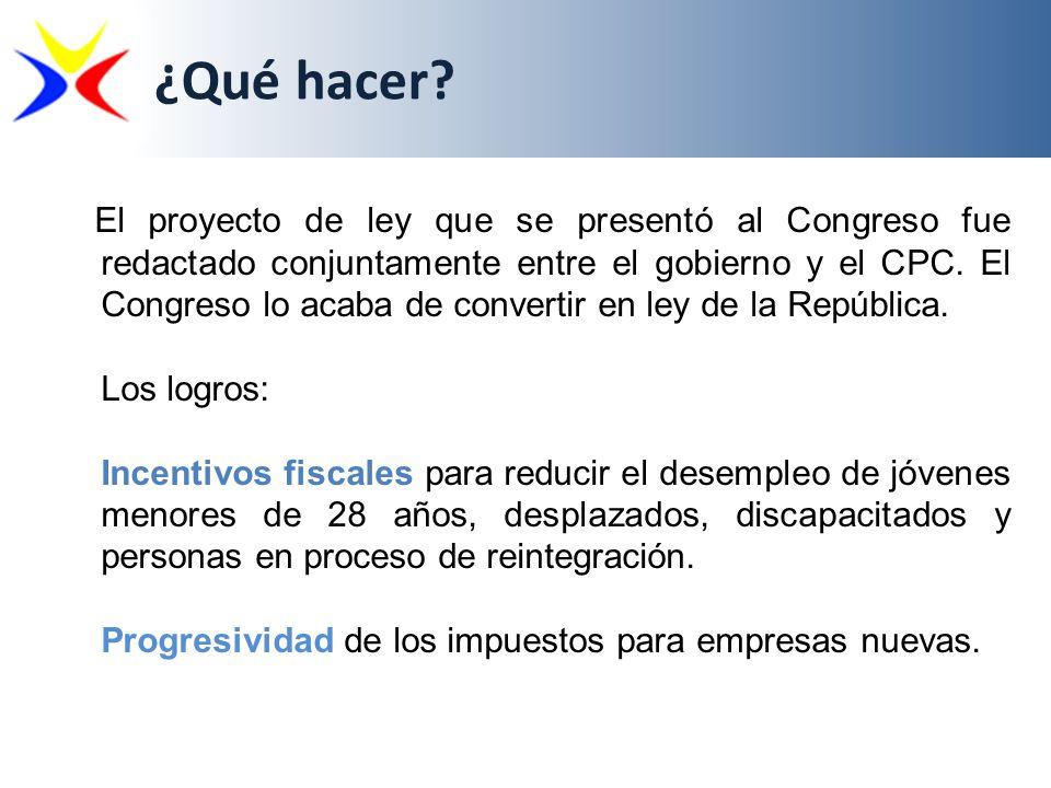El proyecto de ley que se presentó al Congreso fue redactado conjuntamente entre el gobierno y el CPC. El Congreso lo acaba de convertir en ley de la