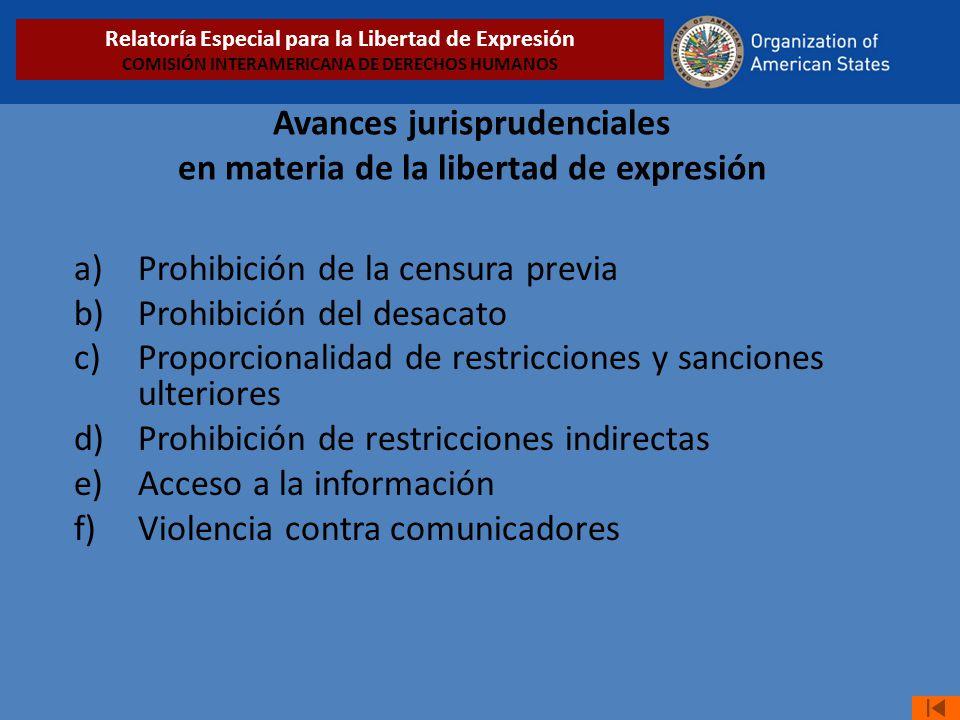 Avances jurisprudenciales en materia de la libertad de expresión a)Prohibición de la censura previa b)Prohibición del desacato c)Proporcionalidad de r