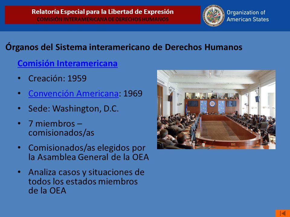Órganos del Sistema interamericano de Derechos Humanos Comisión Interamericana Creación: 1959 Convención Americana: 1969 Convención Americana Sede: Wa