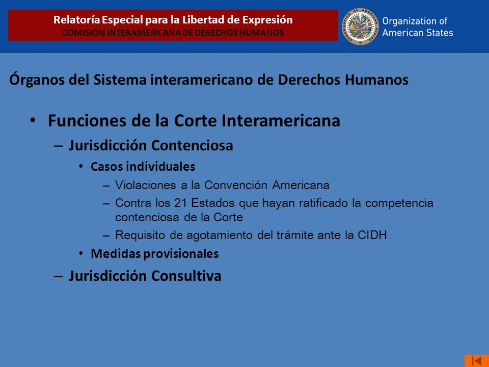 Órganos del Sistema interamericano de Derechos Humanos Funciones de la Corte Interamericana – Jurisdicción Contenciosa Casos individuales – Violacione