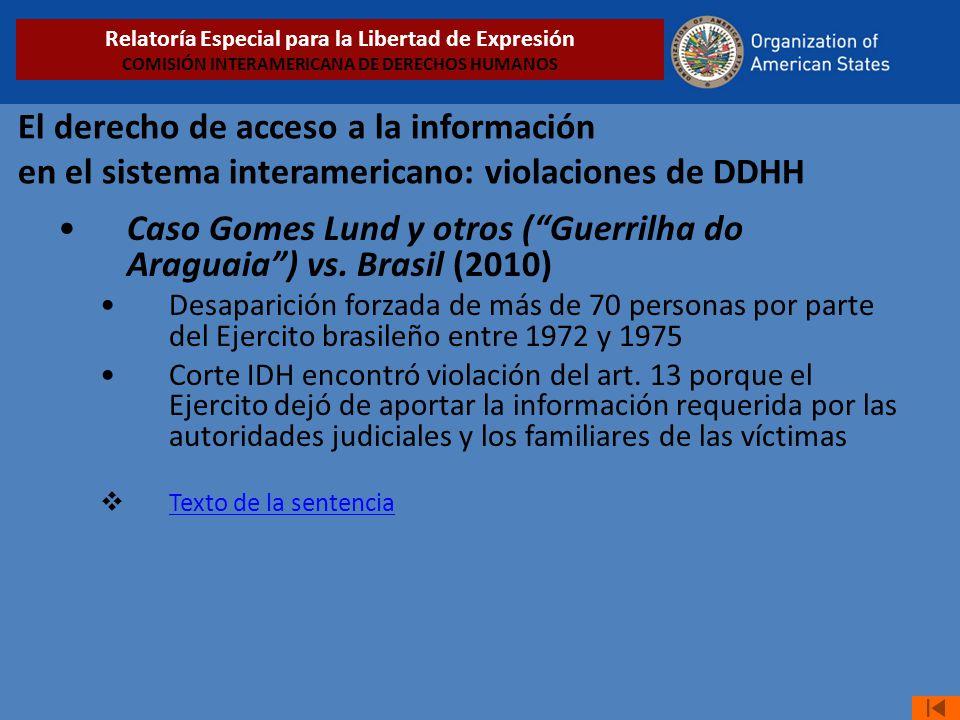 El derecho de acceso a la información en el sistema interamericano: violaciones de DDHH Caso Gomes Lund y otros (Guerrilha do Araguaia) vs. Brasil (20