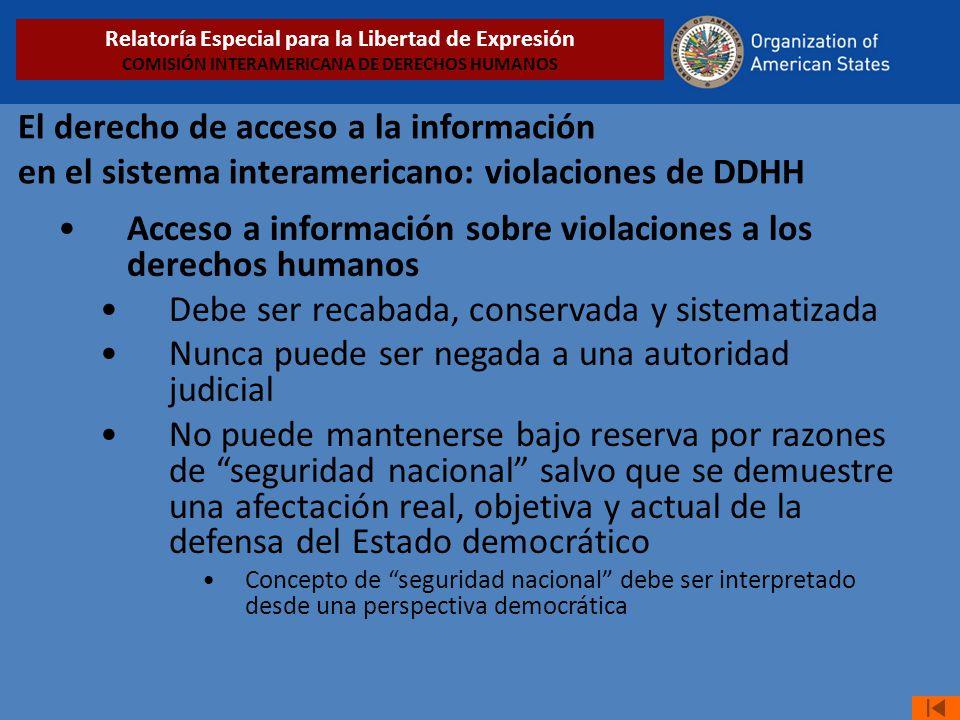 El derecho de acceso a la información en el sistema interamericano: violaciones de DDHH Acceso a información sobre violaciones a los derechos humanos