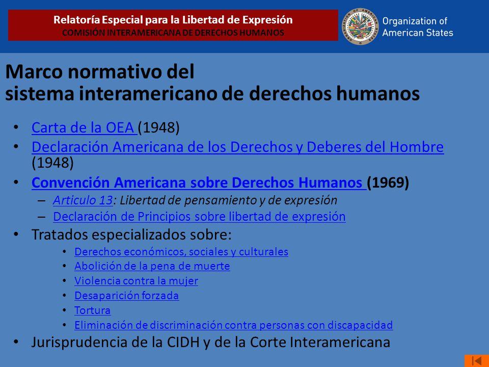 Marco normativo del sistema interamericano de derechos humanos Carta de la OEA (1948) Carta de la OEA Declaración Americana de los Derechos y Deberes