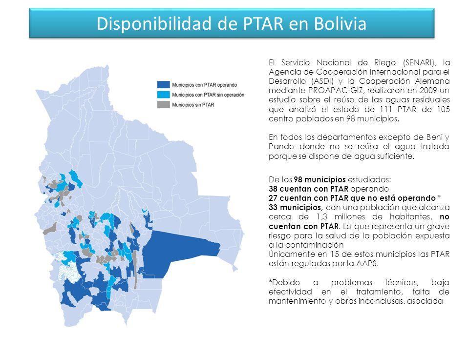 Disponibilidad de PTAR en Bolivia El Servicio Nacional de Riego (SENARI), la Agencia de Cooperación Internacional para el Desarrollo (ASDI) y la Cooperación Alemana mediante PROAPAC-GIZ, realizaron en 2009 un estudio sobre el reúso de las aguas residuales que analizó el estado de 111 PTAR de 105 centro poblados en 98 municipios.