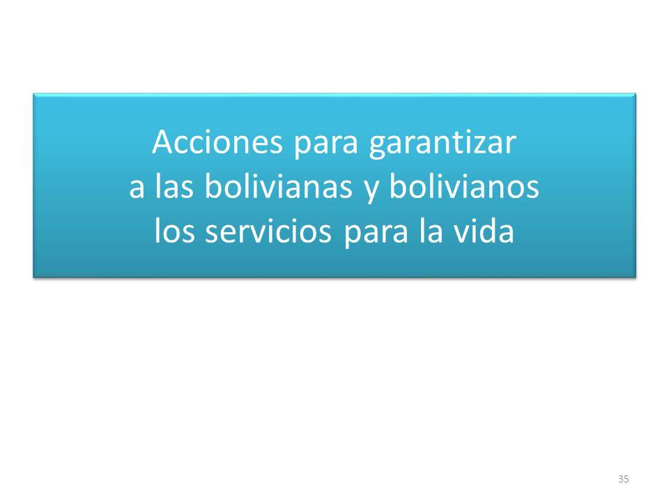 Acciones para garantizar a las bolivianas y bolivianos los servicios para la vida 35
