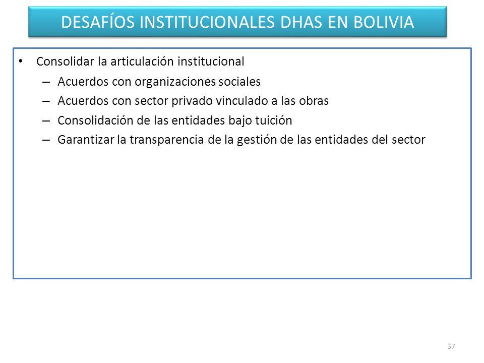 DESAFÍOS INSTITUCIONALES DHAS EN BOLIVIA Consolidar la articulación institucional – Acuerdos con organizaciones sociales – Acuerdos con sector privado vinculado a las obras – Consolidación de las entidades bajo tuición – Garantizar la transparencia de la gestión de las entidades del sector 37