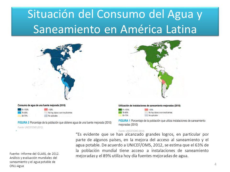 Situación del Consumo del Agua y Saneamiento en América Latina 4 Fuente: Informe del GLASS, de 2012.